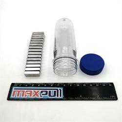 Неодимовые магниты 25х10х6 мм, прямоугольники, MaxPull, набор 15 шт. в тубе - фото 10279