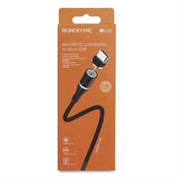Магнитный USB кабель для телефона, разъем Micro USB, 2.4А, BOROFONE BU16 (L=1,2M) (черный) - фото 8353