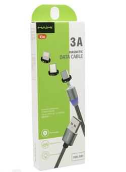 Магнитный USB кабель для телефона, разъем 3 в 1 Lighting/Micro/Type-C, MAIMI, (L=1M) - фото 9324