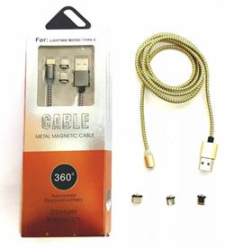 Магнитный USB кабель для телефона, разъем 3 в 1 Lighting/Micro/Type-C, X-CABLE (L=1M) (бронза) - фото 9325