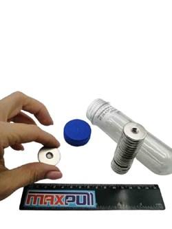 Неодимовые магниты диски 25х3 мм с зенковкой 4,5/7,5, MaxPull, набор 20 шт. в тубе - фото 9629