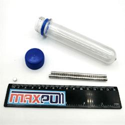 Неодимовые магниты 5х3 мм, диски, MaxPull, набор 60 шт. в тубе - фото 9891