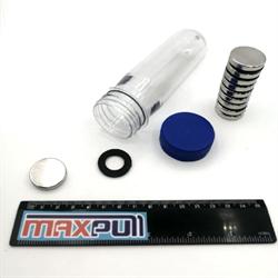 Неодимовые магниты 25х5 мм, диски, MaxPull, набор 10 шт. в тубе - фото 9975