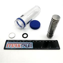Неодимовые магниты 20х3 мм, диски, MaxPull, набор 20 шт. в тубе - фото 9996
