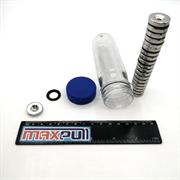 Неодимовые магниты диски 20х5 мм с зенковкой 4,5/10, MaxPull, набор 20 шт. в тубе