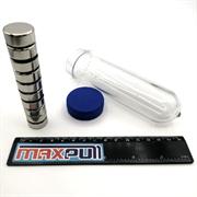 Неодимовые магниты 20х10 мм, диски, MaxPull, набор 20 шт. в тубе