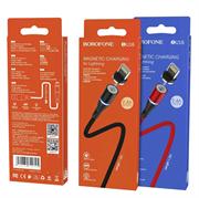 Магнитный USB кабель для телефона, разъем Apple 8-pin, 2.4А, BOROFONE BU16 (L=1,2M) (черный)