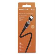 Магнитный USB кабель для телефона, разъем Micro USB, 2.4А, BOROFONE BU16 (L=1,2M) (черный)