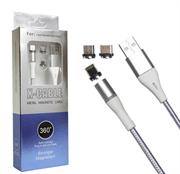 Магнитный USB кабель для телефона, разъем 3 в 1 Lighting/Micro/Type-C, X-CABLE (L=2M) (черный)