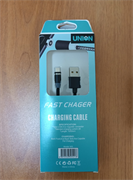 Магнитный USB кабель для телефона, разъем Micro USB, 2А, UNION (L=1,2M) (черный)