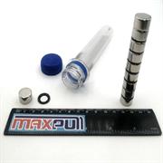 Неодимовые магниты 15х10 мм, диски, MaxPull, набор 10 шт. в тубе