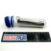 Неодимовые магниты 15х2 мм, диски, MaxPull, набор 50 шт. в тубе