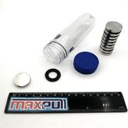 Неодимовые магниты 25х5 мм, диски, MaxPull, набор 10 шт. в тубе