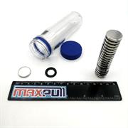 Неодимовые магниты 20х3 мм, диски, MaxPull, набор 20 шт. в тубе